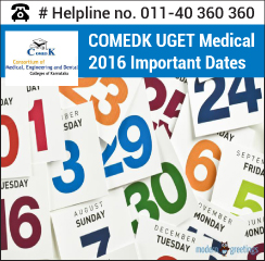 COMEDK UGET Medical 2016 Important Dates