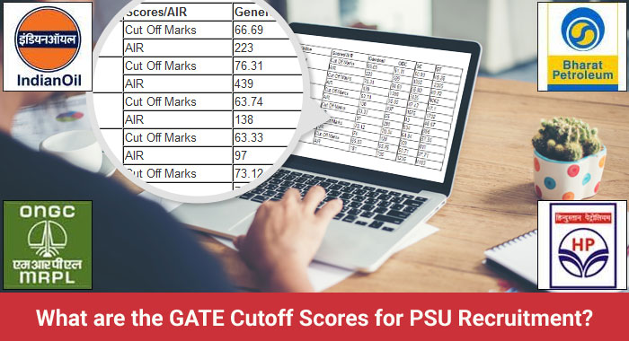 What are the GATE cutoff scores for PSU Recruitment?