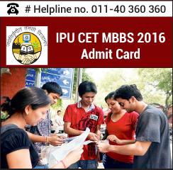 IPU CET MBBS 2016 Admit Card