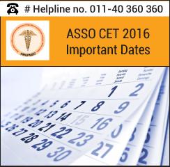 ASSO CET 2016 Important Dates