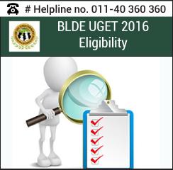 BLDE UGET 2016 Eligibility