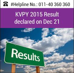 KVPY 2015 Result declared on Dec 21