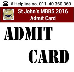 St. John's MBBS 2016 Admit Card