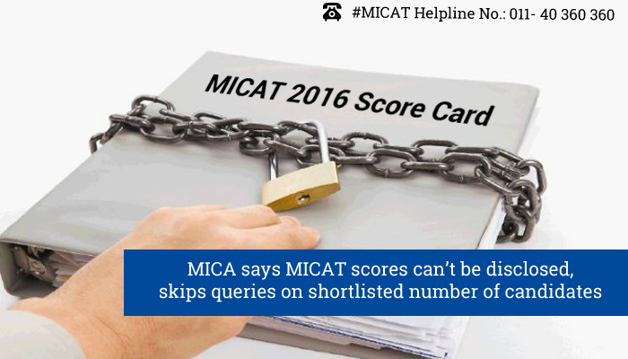 MICA says MICAT scores can't be disclosed, skips queries on shortlisted number of candidates
