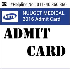 NUUGET Medical 2016 Admit Card