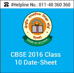 CBSE 2016 Class 10 Date-Sheet