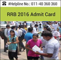RRB NTPC 2016 Admit Card
