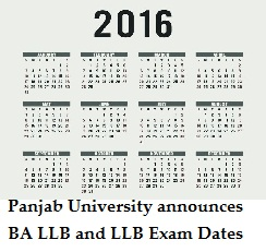 Panjab University announces BA LLB and LLB Exam Dates