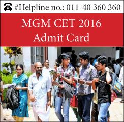 MGM CET 2016 Admit Card
