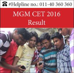 MGM CET 2016 Result