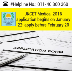 JKCET Medical 2016 application begins on January 22; apply before February 20