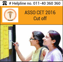 ASSO CET 2016 Cut off