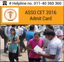 ASSO CET 2016 Admit Card