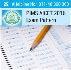 PIMS AICET 2016 Exam Pattern