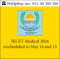 JKCET Medical 2016 rescheduled to May 14 and 15