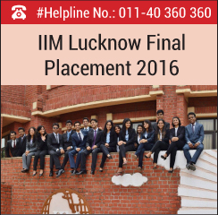 IIM Lucknow Final Placement 2016; Sales and Marketing highest recruiting