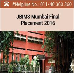 JBIMS Mumbai Final Placement 2016; 42% of batch opts for BFSI sector