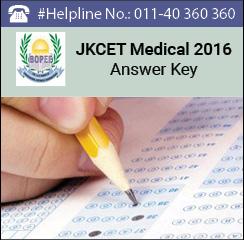 JKCET Medical 2016 Answer Key