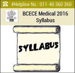 BCECE Medical 2016 Syllabus