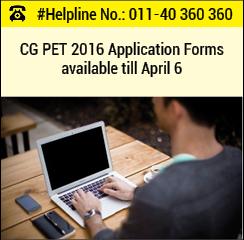 CG PET 2016 Application Form available till April 6