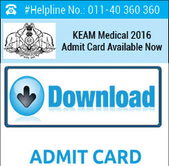 KEAM Medical 2016 Admit Card Available Now