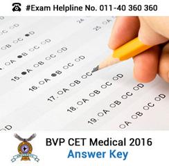 BVP CET Medical 2016 Answer Key