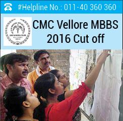 CMC Vellore MBBS 2016 Cut off