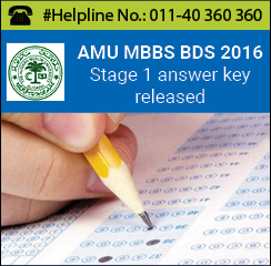 AMU MBBS BDS 2016 Stage 1 answer key released