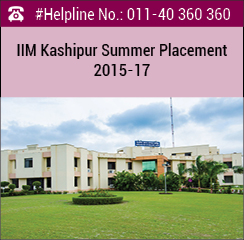 IIM Kashipur Summer Placement 2015-17; 29% increase in domestic stipend
