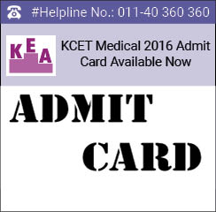 KCET Medical 2016 Admit Card Available Now