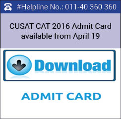 CUSAT CAT 2016 Admit Card available from April 19