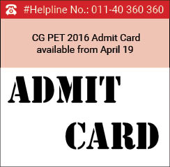 CG PET 2016 Admit Card available from April 19