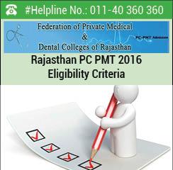Rajasthan PC PMT 2016 Eligibility Criteria