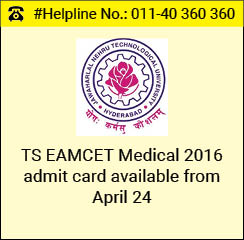 TS EAMCET Medical 2016 admit card available from April 24