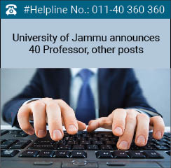 University of Jammu announces 40 Professor, other posts