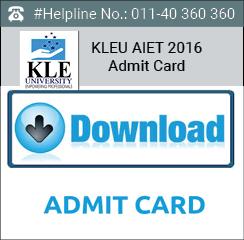 KLEU AIET 2016 Admit Card