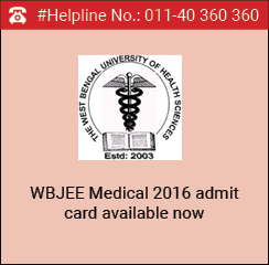 WBJEE Medical 2016 Admit Card Available Now