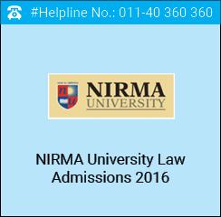 Nirma Law Admissions 2016