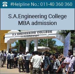 S.A. Engineering College MBA admission 2016