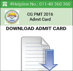 CG PMT 2016 Admit Card