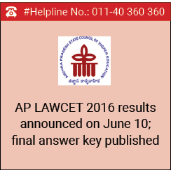 AP LAWCET 2016 results announced on June 10; final answer key published