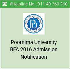 Poornima University BFA 2016 Admissions