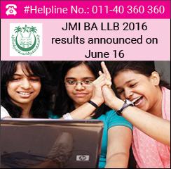 JMI BA LLB 2016 results announced on June 16