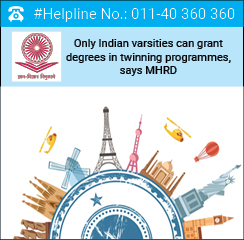 Only Indian varsities can grant degrees in twinning programmes, says MHRD