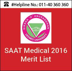 SAAT Medical 2016 Merit List