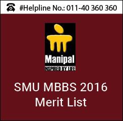 SMU MBBS 2016 Merit List