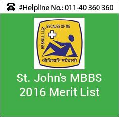 St. John's MBBS 2016 Merit List