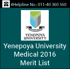 Yenepoya Medical 2016 Merit List