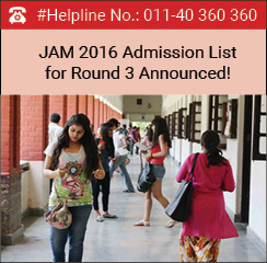 JAM 2016 Admission List for Round 3 Announced!