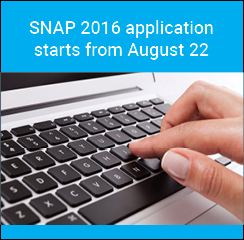 SNAP 2016 application starts from August 22; last date to apply November 22